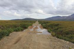 Melting permafrost has made this Alaskan road sink by 10 feet
